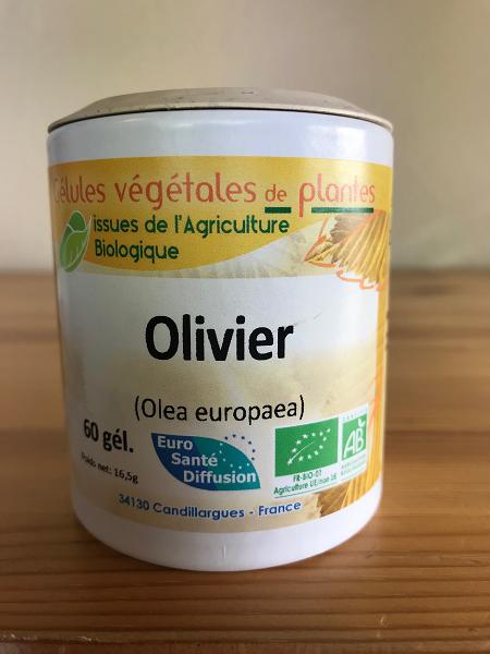 Gélules d'olivier bio de 200 mg