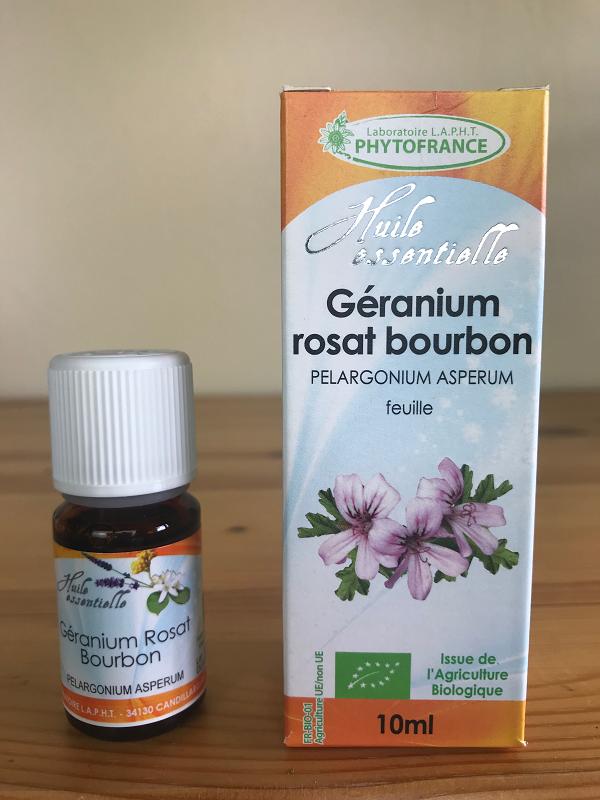 Huile essentielle de géranium rosat bourbon bio